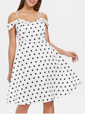 Cheap Polka Dot Print Cold Shoulder Vintage Dress
