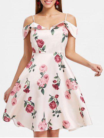 Discount Floral Print Cold Shoulder A-Line Dress