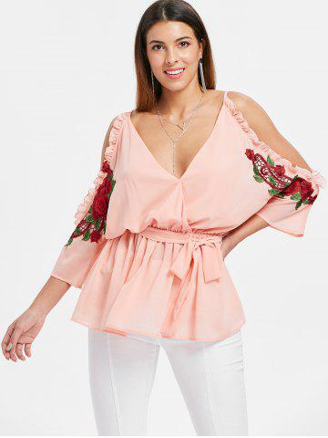 Plunge Open Shoulder Embroidery Blouse