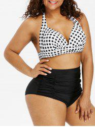 Halter Plus Size Plaid Print Bikini Set -