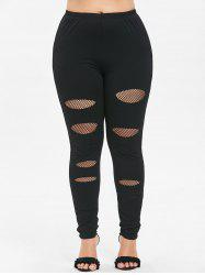 Plus Size Fishnet Trim Holes Leggings -