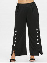 Plus Size Button Sides Wide Leg Pants -