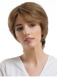 Short Oblique Bang Straight Capless Human Hair Wig -
