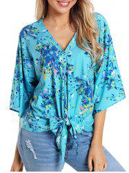 Knotted V Neck Printed Top -