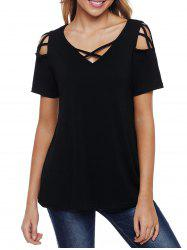 V Neck Criss Cross Sleeve T-shirt -