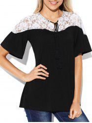 Lace Insert Short Sleeve Plain T-shirt -