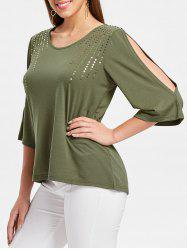 Sequin Embellished Cut Out Sleeve T-shirt -