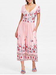 Floral Print Surplice Neck Mid Calf Dress -