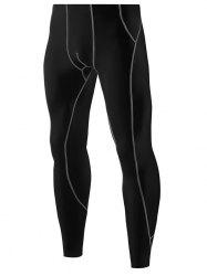 Contrast Color Tights Skin Running Sports Pants -