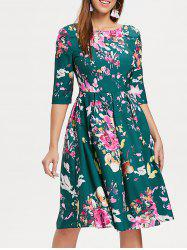 Three Quarter Sleeve Floral Print Dress -