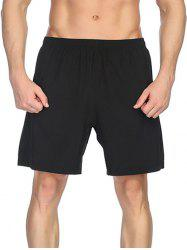 Elastic Waist Solid Color Sportive Shorts -