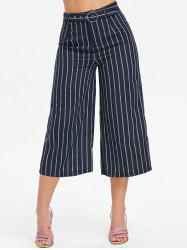 High Waist Striped Capri Pants -