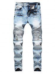 Destroyed Narrow Feet Acid Wash Straight Jeans -