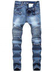 Multi-pocket Pleated Patchwork Jeans -