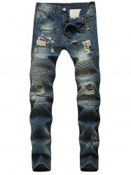 Ripped Patch Narrow Feet Biker Jeans -