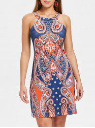 Paisley Print Round Neck Shift Dress -