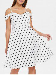 Polka Dot Print Cold Shoulder Vintage Dress -