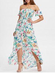 Off The Shoulder Asymmetrical Floral Dress -