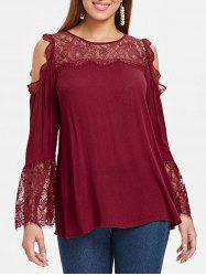 Bell Sleeve Cold Shoulder Floral Lace Blouse -