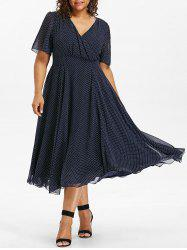 Plus Size Polka Dot Midi Dress -