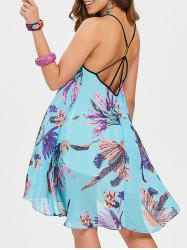 Open Back Spaghetti Strap Dress with Print -