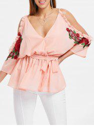 Plunge Open Shoulder Embroidery Blouse -