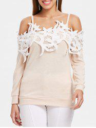 Lace Brim Cold Shoulder Cuff Sleeve T-shirt -