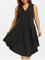 Plus Size Sleeveless Midi Dress -
