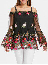 Mesh Panel Embroidery Bell Sleeve Blouse -