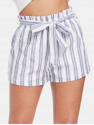 Striped High Waist Shorts with Belt -