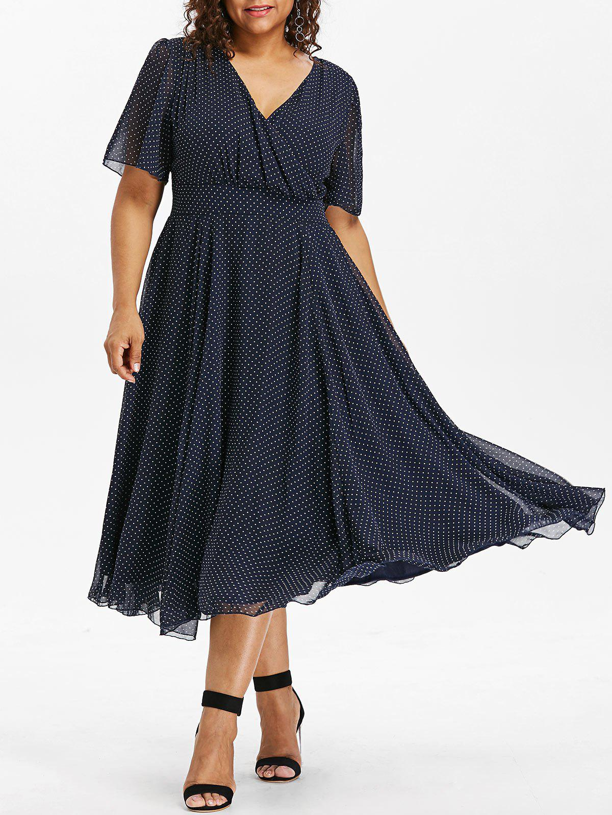 Best Plus Size Polka Dot Midi Dress