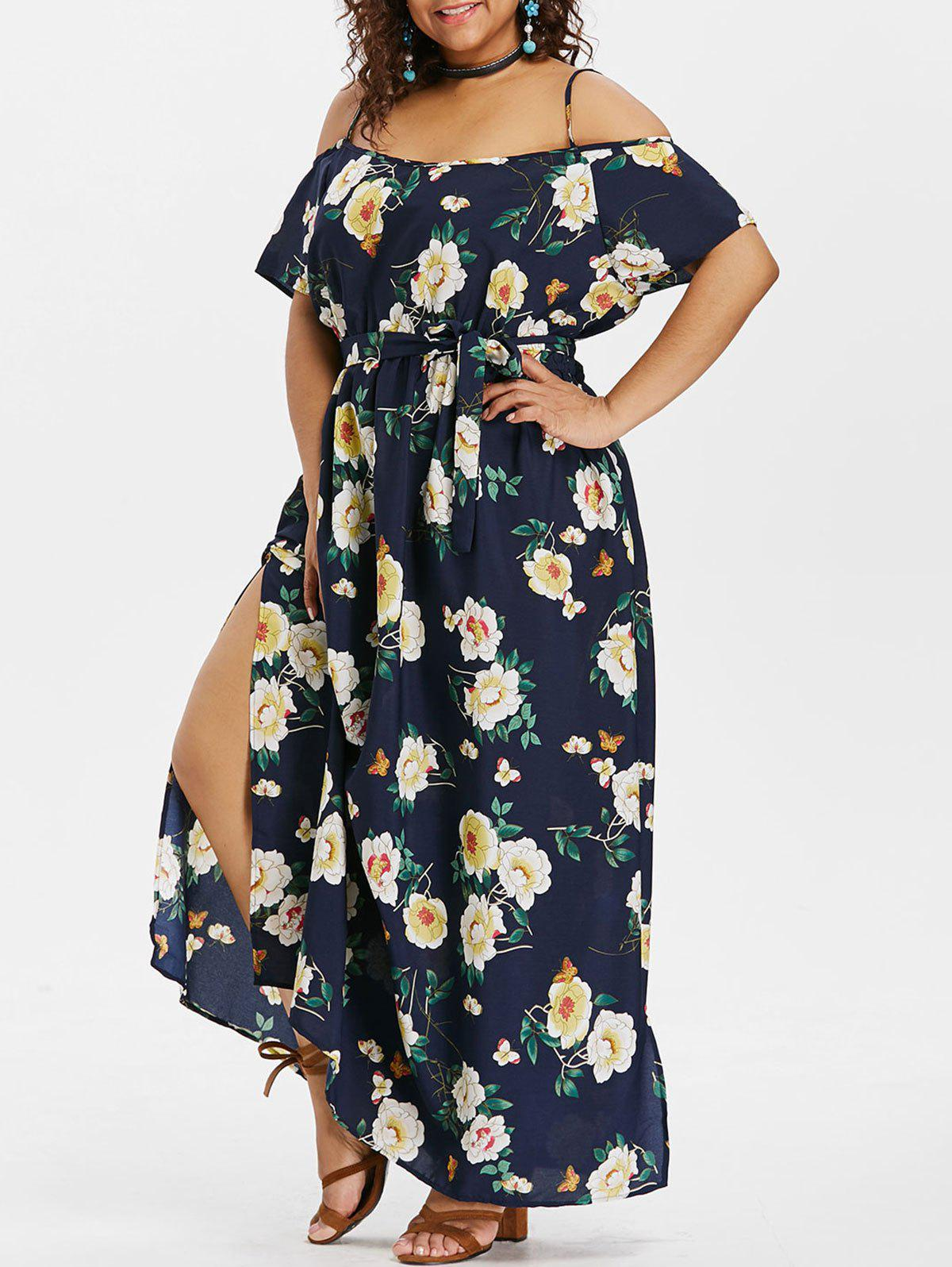 New Plus Size Floral Slit Belted Dress