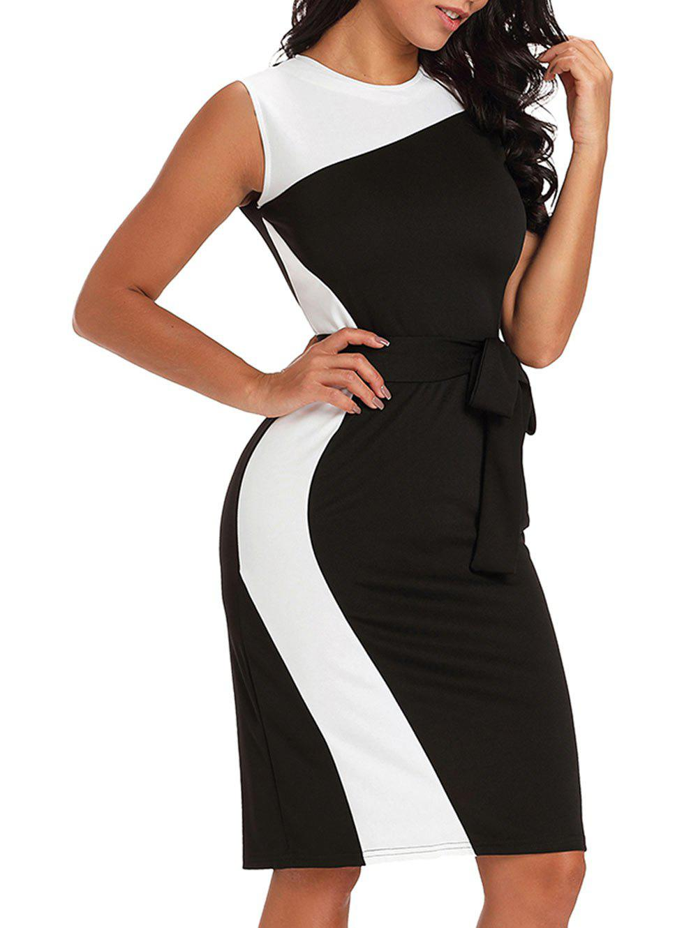 Store Color Block Bodycon Dress with Belt