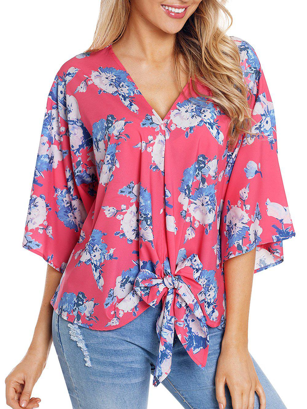Outfits Knotted V Neck Printed Top