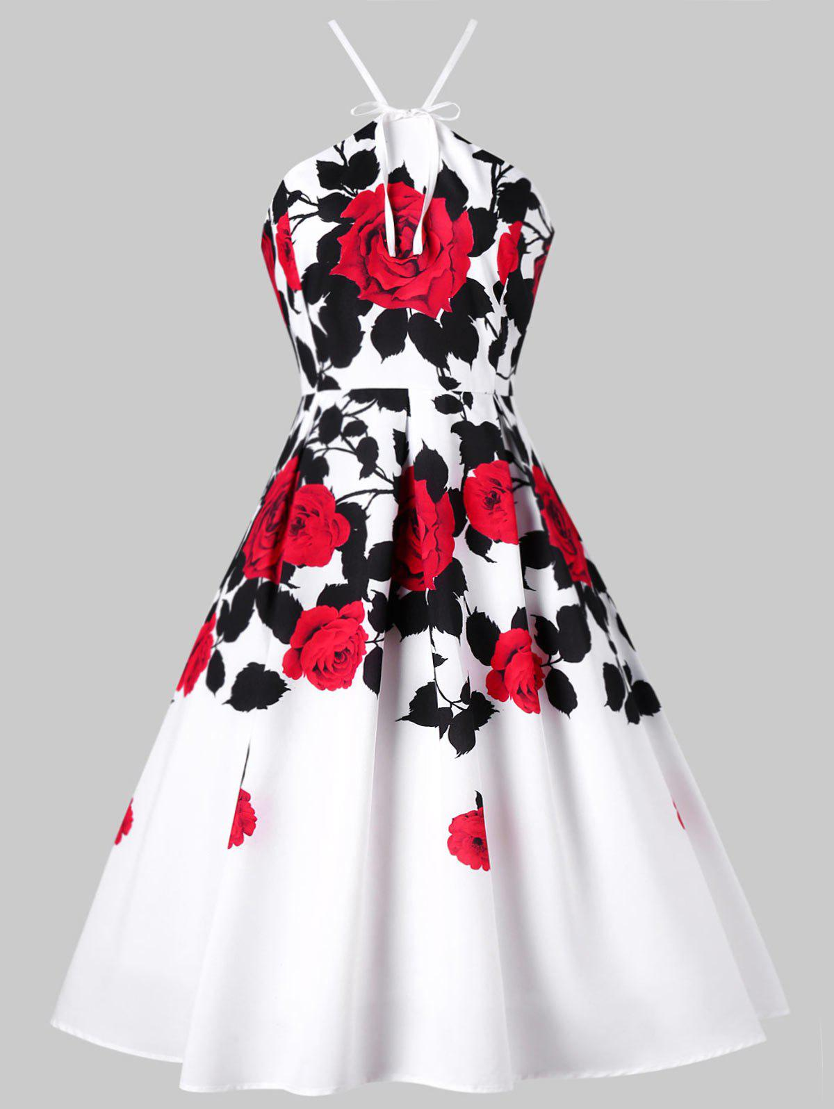 Store Floral Box Pleated 1950s Swing Dress