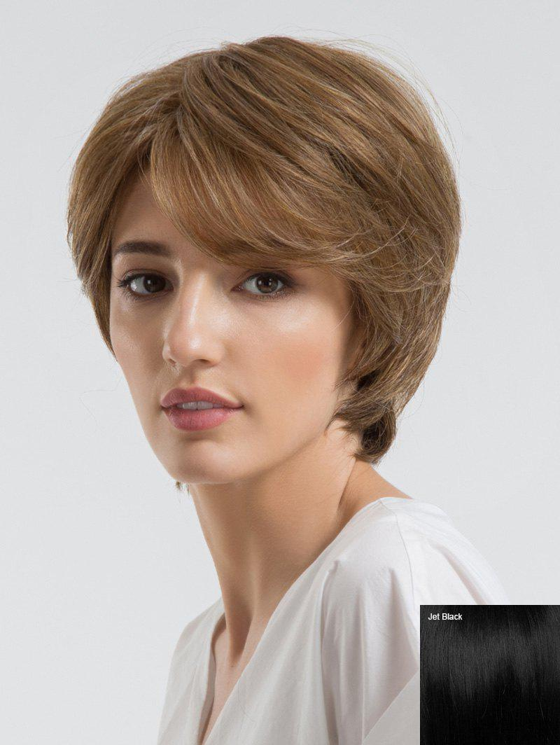 Chic Short Oblique Bang Straight Capless Human Hair Wig