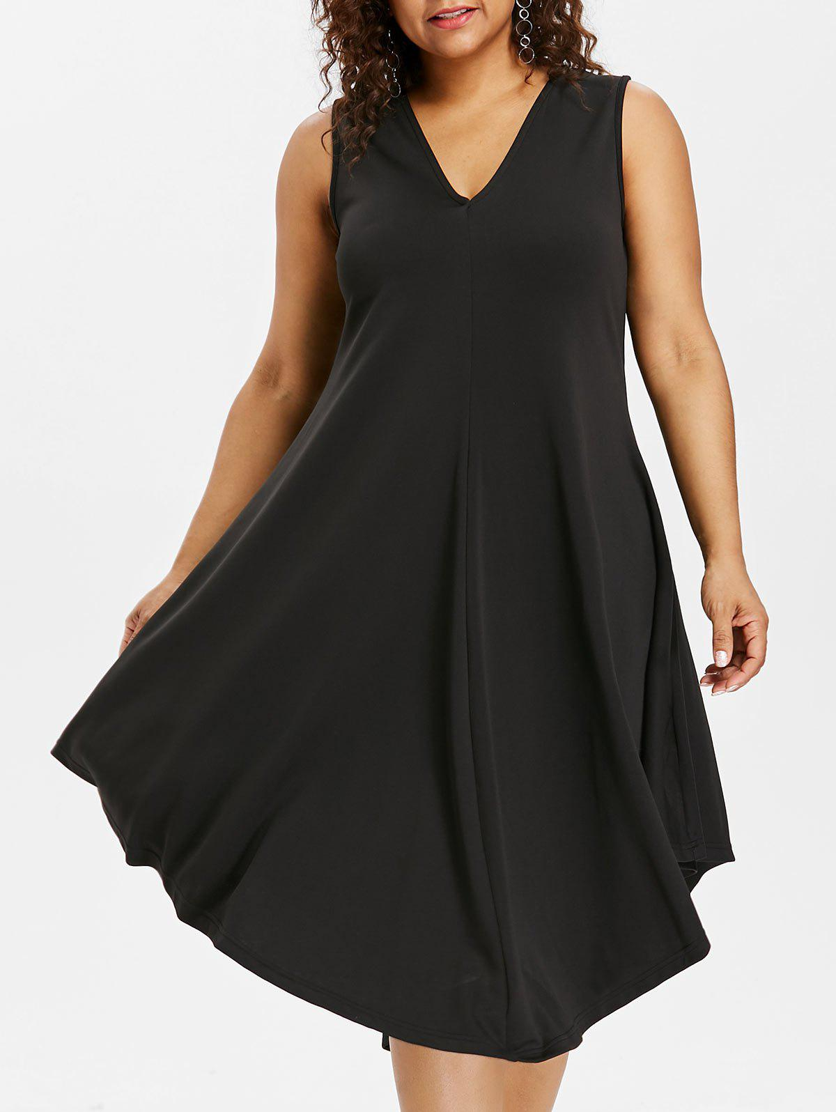 Affordable Plus Size Sleeveless Midi Dress