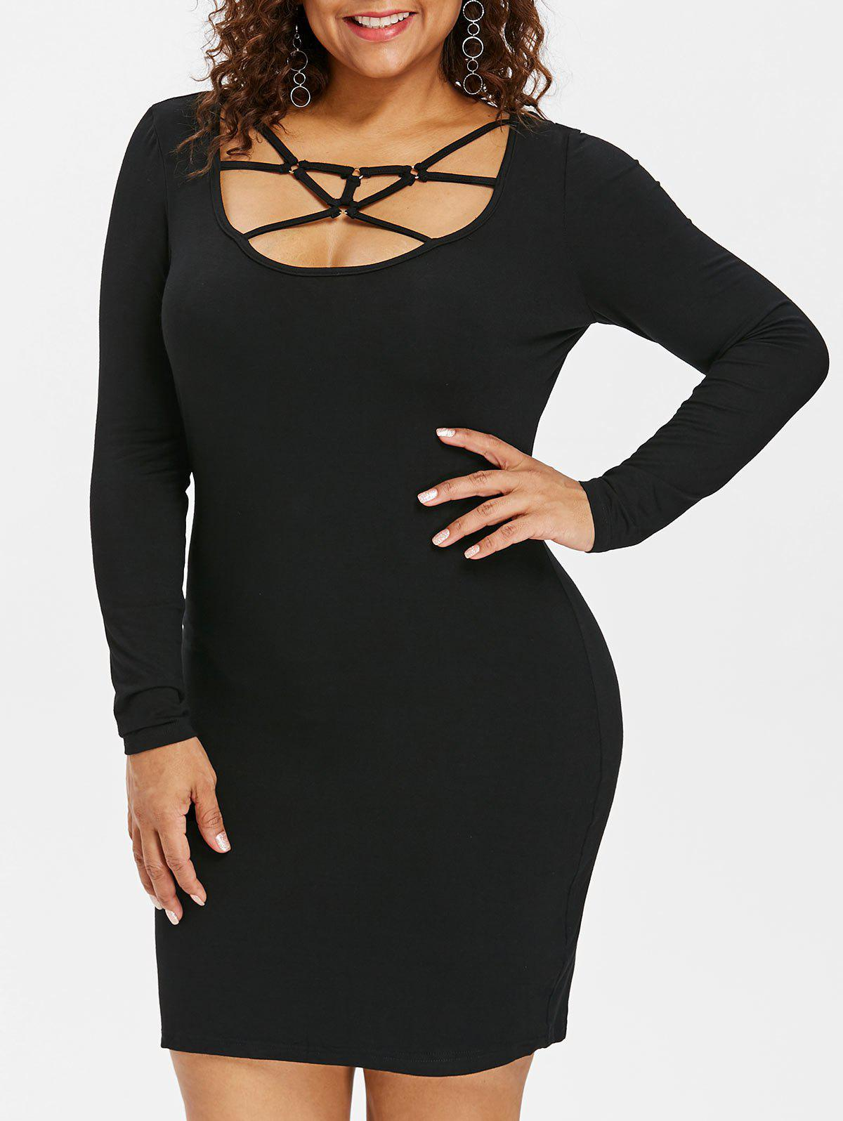 Trendy Plus Size Caged Cut Out Bodycon Dress