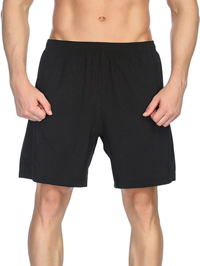 Shops Elastic Waist Solid Color Sportive Shorts
