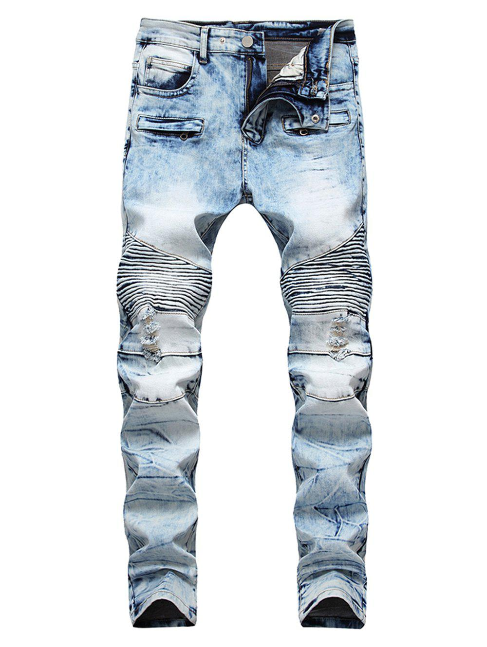 Destroyed Narrow Feet Acid Wash Straight Jeans