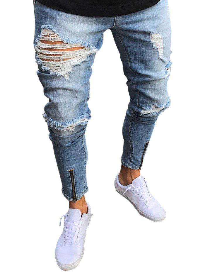 Chic Zip Hem Destroyed Wash Jeans
