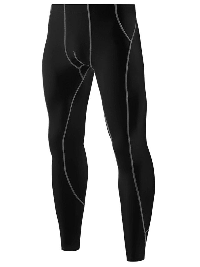 Buy Contrast Color Tights Skin Running Sports Pants