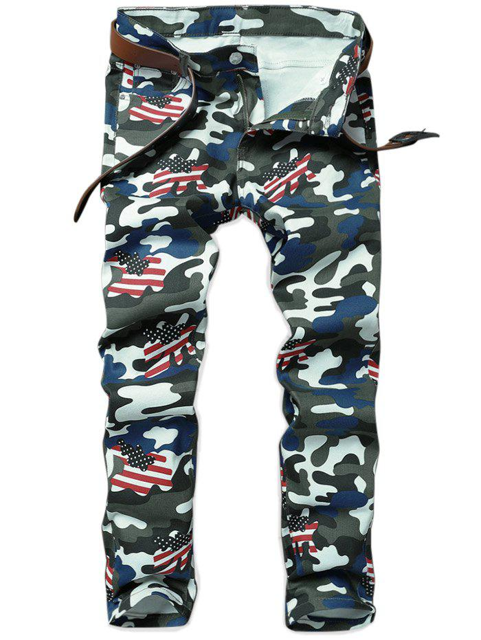 Unique Camouflage American Flag Pattern Pencil Jeans