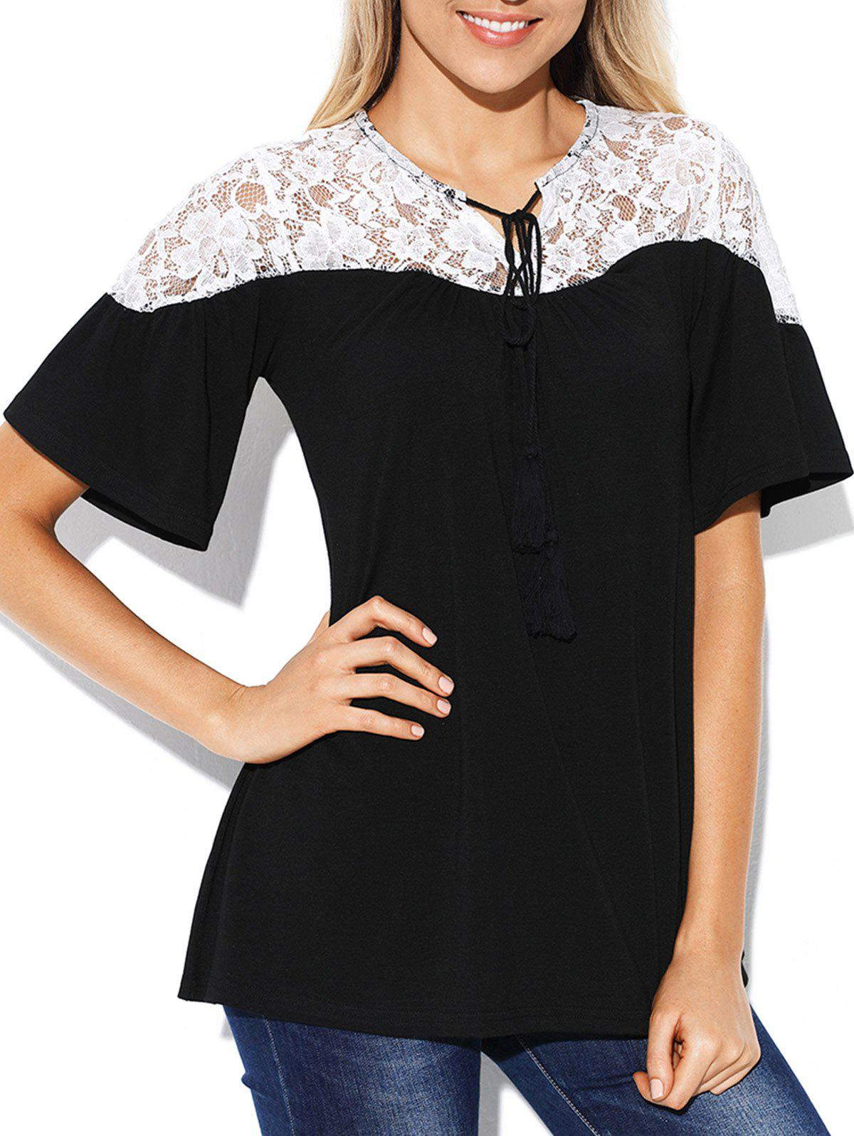 Store Lace Insert Short Sleeve Plain T-shirt
