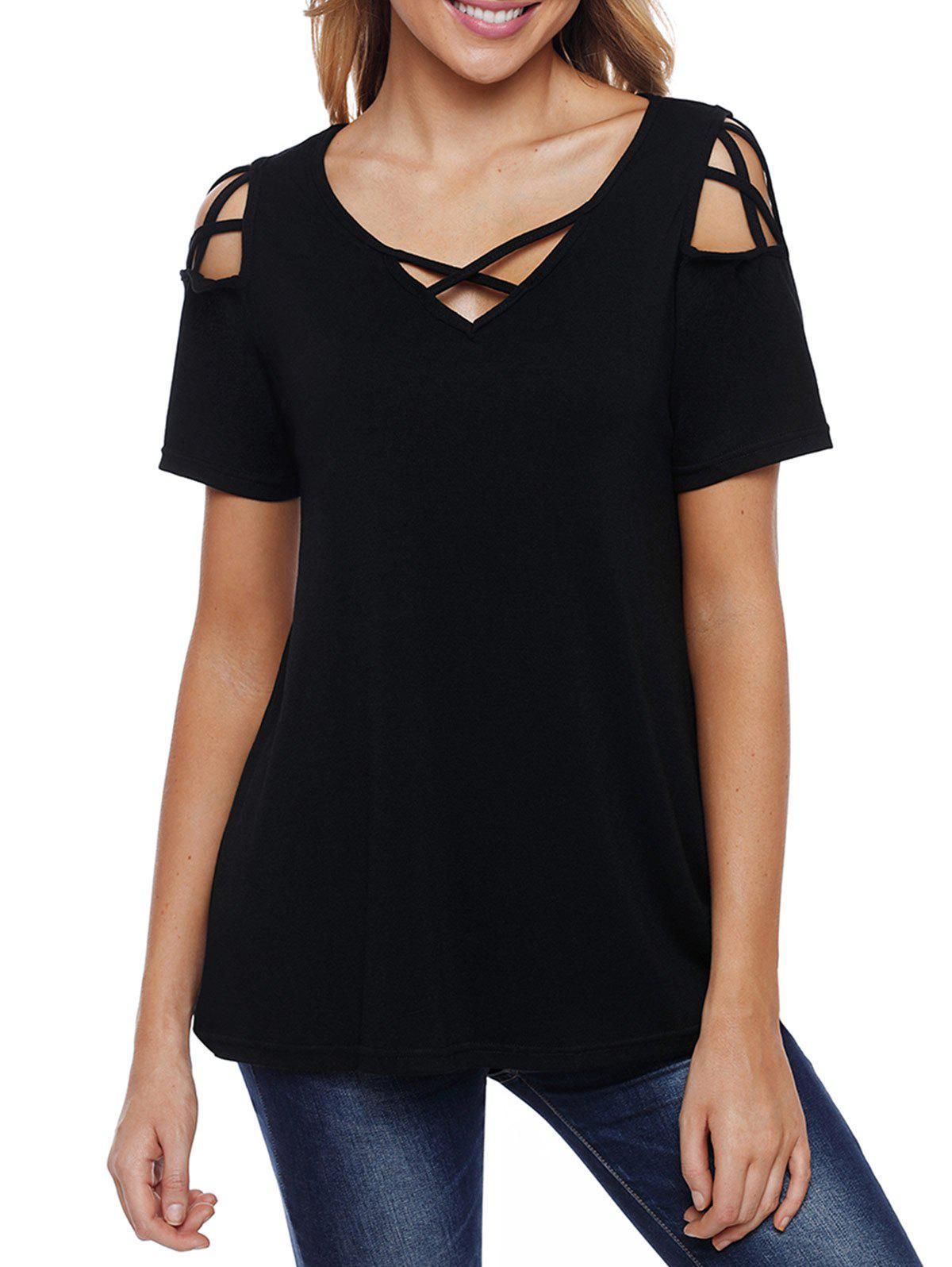 New V Neck Criss Cross Sleeve T-shirt