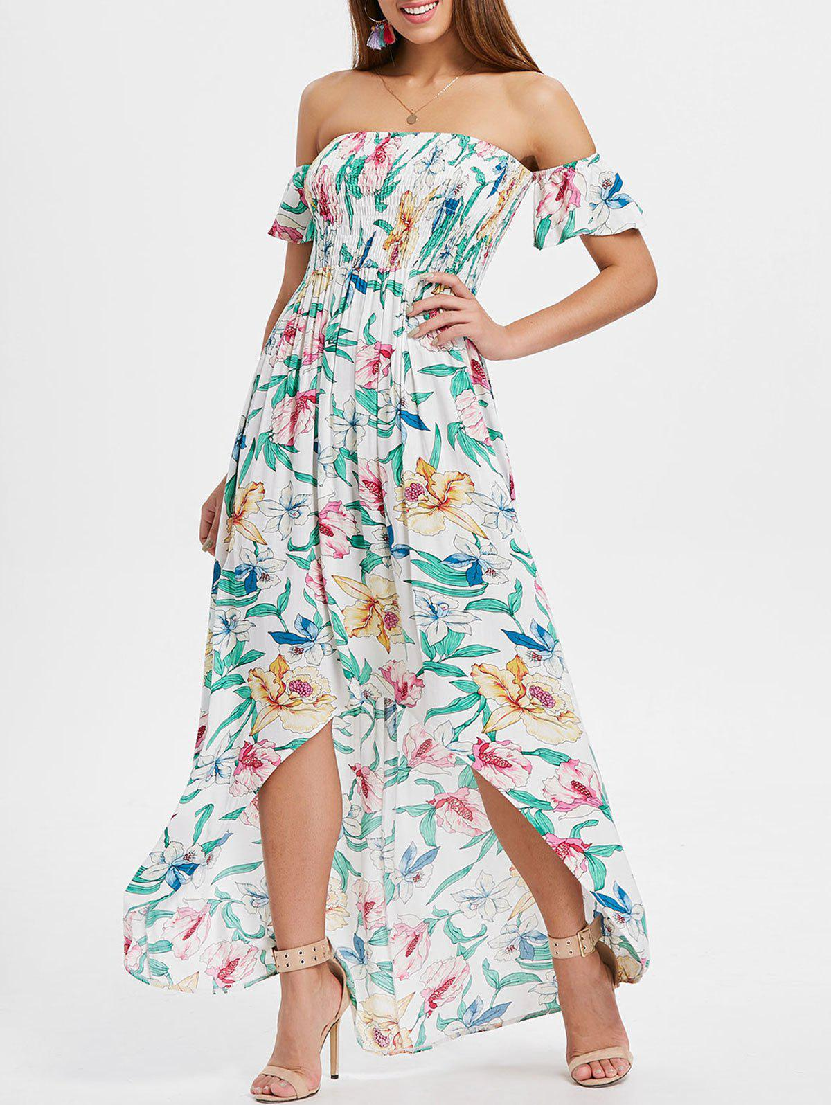 Latest Off The Shoulder Asymmetrical Floral Dress