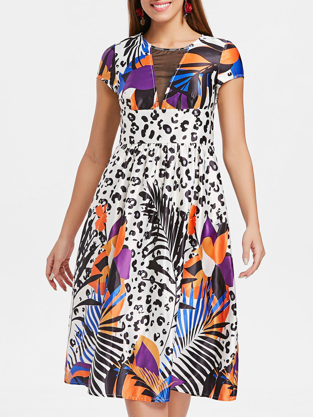 Shops Mesh Panel Printed Fit and Flare Dress