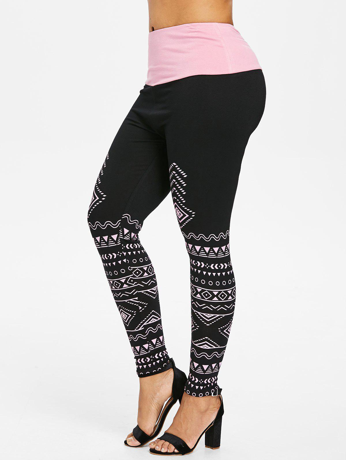Trendy Plus Size Geommetric Print High Waisted Leggings