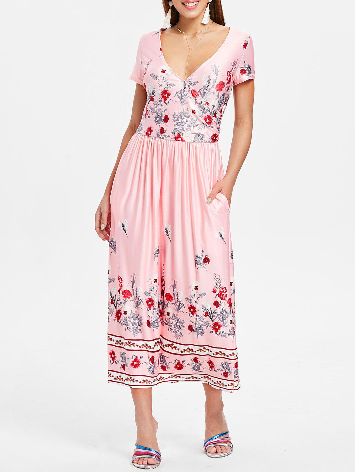 Shops Floral Print Surplice Neck Mid Calf Dress