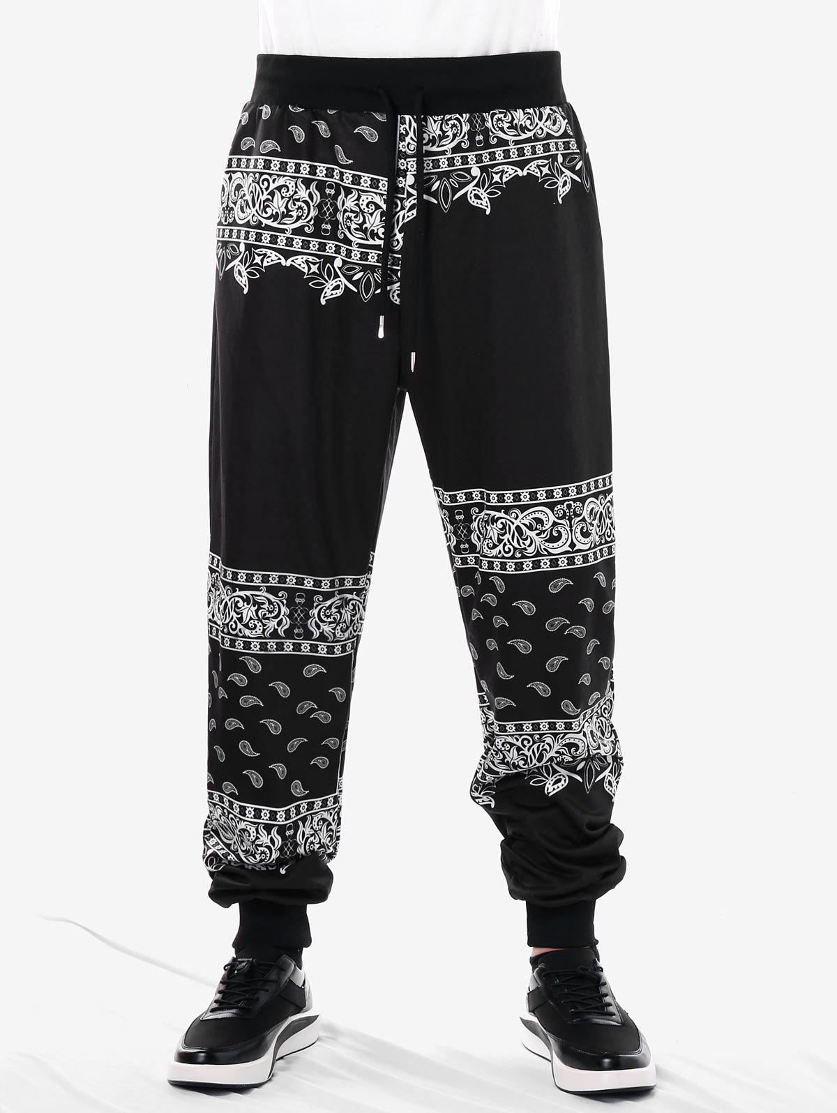 Unique Drawstring Ethnic Paisley Print Jogger Pants